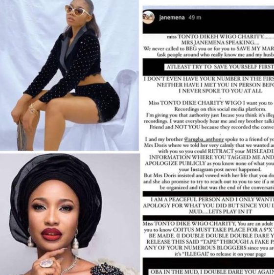 War Between Janemena And Tonto Dike concerning the sex tape (Explained)